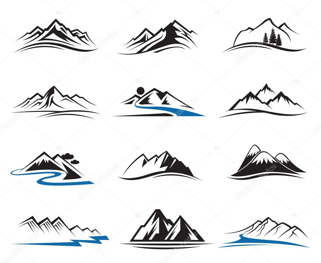 Mountain icons set — Stock Vector © alexkava #70657531
