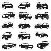 Arabalar silhouettes — Stok Vektör