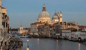Grand Canal and Basilica Santa Maria della Salute during sunset  — Stock Photo