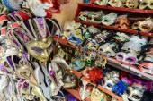 Vintage Venetian carnival masks for sale in Venice Italy — Stock Photo