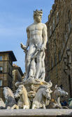 The fountain of Neptune by Bartolomeo Ammannati, in the Piazza d — Stock Photo