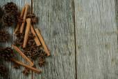 Cinnamon sticks and pine cones — Stock Photo