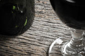Bottle of Wine and Glass — Stock Photo