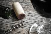 Bottle of Red Wine with Cork — Stock Photo