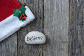 Santa Hat with the text Believe — Stock Photo