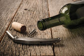 Green Wine Bottle and Cork — Stock Photo