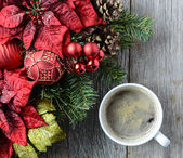 Coffee with Christmas Holiday Decorations — Stock Photo