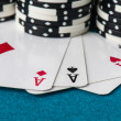 Stacked Poker Chips with Ace Card — Stock Photo #60292021