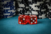Red Dice and Playing Chips — Stock Photo