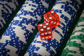Gambling Chips and Red Dice — Stock Photo
