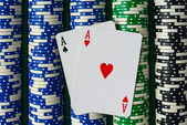 Pair of Aces on a Rows of Betting Poker Chips — Stock Photo