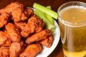 Chicken Buffalo Wings and Beer — Stock Photo