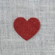 Red Heart on Burlap Background — Stock Photo #61400869