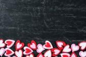 Červené srdce na tabuli — Stock fotografie