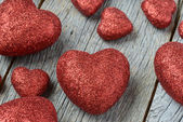 Red Hearts on a Chalkboard — Stock Photo