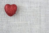 Heart on Burlap Background — Photo