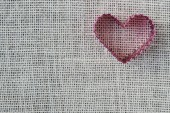 Heart on Burlap Background — Zdjęcie stockowe