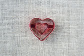 Heart on Burlap Background — Stockfoto