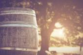 Wine Barrel outside — Stock Photo