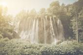Waterfall with Sunlight with  Film Effect — Стоковое фото