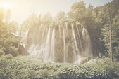 Waterfall with Sunlight with  Film Effect — Stock Photo