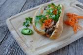 Vietnamese Grilled Pork Banh Mi Sandwich — Stock Photo