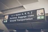 Baggage Claim sign found in the arrival terminal — Stock Photo