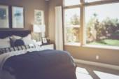 Blurred Bedroom with Bed — Stock Photo