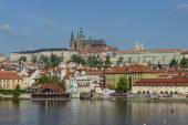 Prague castle with river Vltava — Stockfoto