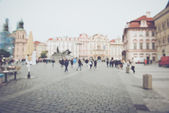 Blurred Tourists in prague — Stock Photo