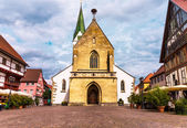 Marketplace in Bad Saulgau with St. John Baptist Church, Germany — Stock Photo