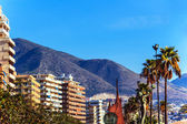 On the beach of Fuengirola, holiday resort near Malaga, Southern Spain — Stock Photo
