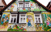 Painted house with scenes from the Grimm fairy tales in Steinau an der Straße, Germany — Stock Photo