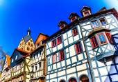 Historic wood-framed houses in Barbarossa town Gelnhausen, the geographic center of the European Union in 2010, Germany — Fotografia Stock