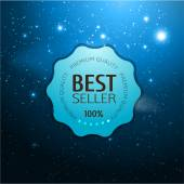 Round polished blue badge with universe background — Vector de stock