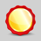 Blank round polished gold metal badge — 图库矢量图片