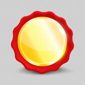 Blank round polished gold metal badge — Vecteur