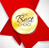 Polished gold metal badge with red ribbon on light background. The Best Choice — Stok Vektör