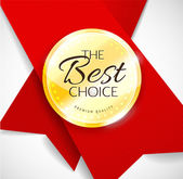Polished gold metal badge with red ribbon on light background. The Best Choice — Stockvektor