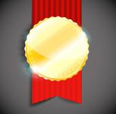 Blank polished golden metal badge with red ribbon on light background. — ストックベクタ
