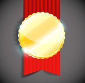 Blank polished golden metal badge with red ribbon on light background. — Stockvektor
