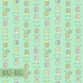 Seamless pattern with bugs — Stock Vector