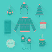 Vector set of holiday Christmas icons in flat style — Stockvektor