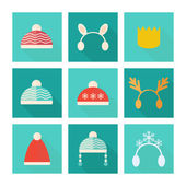 Carnival hats vector set in flat style — Stock Vector