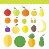 Flat vector elements for web design fruits and berries — Stock Vector