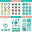 Set of design elements for Christmas and New Year in flat style — Stock Vector #61538049