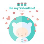 Card with cute child for Valentines day — Stok Vektör