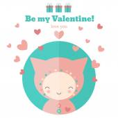 Card with cute child for Valentines day — Stock Vector