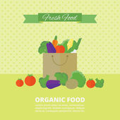 Vector banner, card with fresh fruits and vegetables — Stock Vector