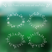 Eco blurry background and floral frames — Stock Vector